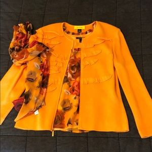 St John Orange Blouse Tank Scarf size 12 M